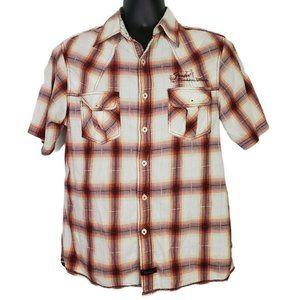 Fender Men's Button Front Plaid Shirt Size Medium